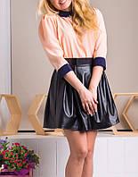 """Женская блузка из креп-шифона """"Пэрис персик"""", до 48 размера"""