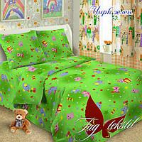 Детское постельное бельё TAG Цирк зеленое бязь полуторное