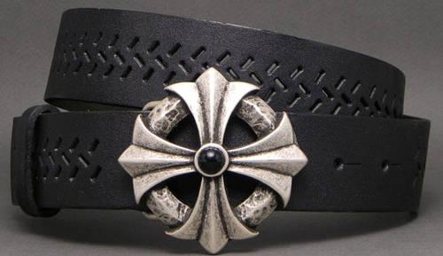 Креативный женский ремень из натуральной кожи Мальтийский крест 4 см Svetlana Zubko 6F40113 черный