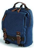 Сумка-рюкзак из плотного холста с кожаной отделкой 5L Traum 7020-11 индиго