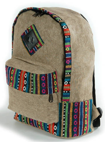 Городской женский рюкзак с этнической отделкой 14 L Traum 7022-02 хаки