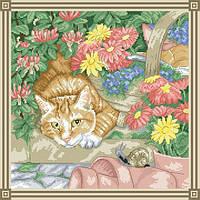 Рисунок на канве для вышивки нитками 12172 Кот и улитка