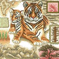Рисунок на канве для вышивки нитками 10292 Тигры