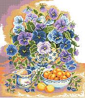 Рисунок на канве для вышивки нитками 81952 Натюрморт с фиалками