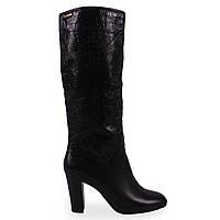 Удобные женские сапоги Dina Fabiani (роскошные, кожаные, демисезонные, на среднем каблуке, черные)