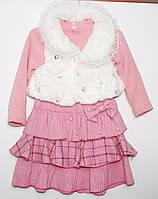 Теплое платье для девочки с меховой жилеткой