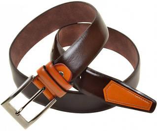 Яркий мужской кожаный ремень 1271-2 brown