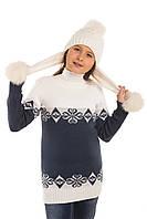 Теплый свитер туника на девочку