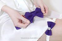 """Набор """"Стиляги"""" галстук-бабочка и подвязка на ножку фиолетового цвета"""