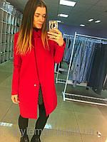 Пальто кашемировое Красное  на одну пуговицу