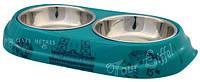 """Trixie  TX-25195 миска для кошек """"Paris"""" (сталь+меламин)2 х 0,15 л / O 10 см"""