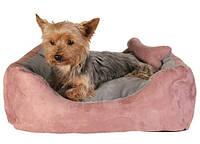 """Trixie TX-37491 Лежак """"Chippy"""" для собак 40 х 40 х 15 см, иск. замша, розовый/серый"""