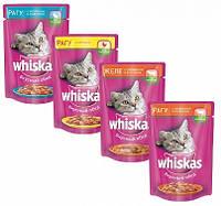 Whiskas 100г паучи для кошек 24 шт в ассортименте