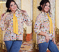 Женская шифоновая рубашка с галстуком. Размер 50-56.  DG ат1027