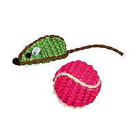 Trixie  TX-40760 набор мышь+мяч (сизаль) 5см/4см