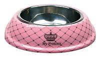 "Trixie  TX-25221 миска ""My Princess"" (сталь+меламин) 0.15л/14см,розовый"