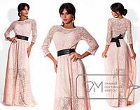 """Нарядное женское длинное платье с поясом """"Джоли"""""""