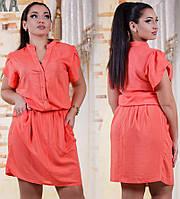 Женское короткое платье с карманами.Размер 50-56. Ткань штапель. Цвет темно -синий, капучино, морковь. DG с418