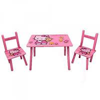 Детский стол деревянный с 2 стульчиками Bambi M 0293 Hello Kitty