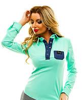 Блуза с джинсовым карманом