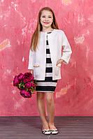 Платье детское с кардиганом карманы которого украшены цепочкой