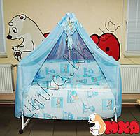 Комплект детского постельного белья Bonna Мишки-домики голубой+ДЕРЖАТЕЛЬ В ПОДАРОК