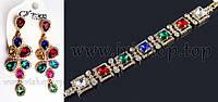 Комплект украшений: браслет и серьги с цветными камнями под золото