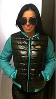 Трендовая короткая женская куртка на молнии рукав длинный стеганная плащевка на синтепоне