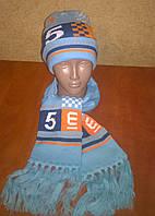 Демисезонный вязанный комплект шапка+шарф