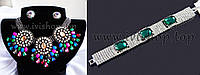 Яркий комплект украшений под серебро из 3 предметов: колье, серьги и браслет