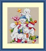 Мережка Різдвяні ведмедики Набор для вышивки крестом К-55