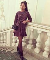 Стильное платье цвет бордо с бусинками