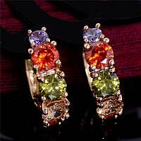 Серьги кольца с разноцветными цирконами, позолота