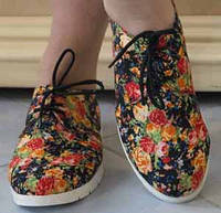 Молодежные женские туфли на шнурках с цветочным принтом на плоской подошве тефлон коттон