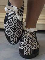 Черно-белые женские туфли на шнурках-ленточках с орнаментом на плоской подошве тефлон коттон