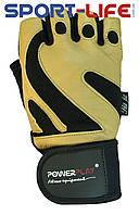 Перчатки для фитнеса PowerPlay КОЖА бежевые для ЗАЛА