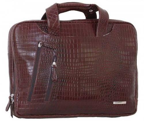 """Современная сумка для ноутбука 15,6"""" Vip Collection 241B croc коричневый"""