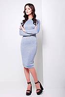 Стильное платье миди серо-голубого цвета с длинным рукавом