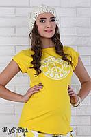 "Яркая футболка для беременных ""Latisha flower"", желтая"