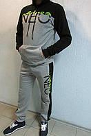 Мужской спортивный костюм Adidas 3474-1 светло серый с черным код 345б