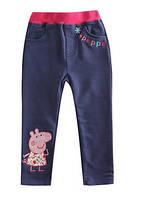 Детские теплые штаны на девочку синего цвета Свинка Пеппа