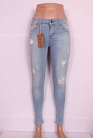 Женские турецкие голубые джинсы с дырками