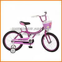 """Велосипед двухколесный для девочек с корзинкой Фуксия 14"""""""