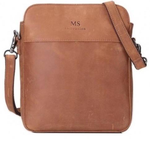 Практичный бежевый кожаный  мессенджер MS Collection Ms017C
