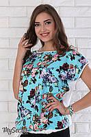 """Легкая блузка для беременных """"Vlada"""" из принтованного штапеля,  принт цветы на бирюзе 2"""