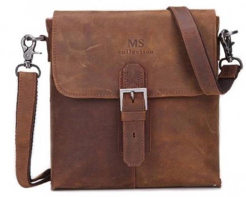 Оригинальный коричневый кожаный  мессенджер MS Collection MS026C
