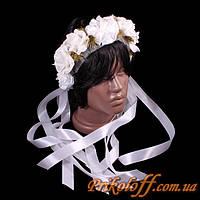 """Веночек """"Белые розы с золотом"""", белые ленты"""