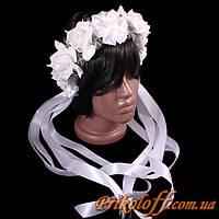 """Веночек """"Белые розы с серебром"""", белые ленты"""