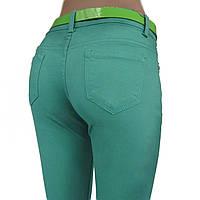 Джинсы / брюки женские узкие, бирюзовые