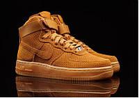 Кроссовки мужские Nike Air Force High Mustard Yellow  (найк форс, оригинал) песочные